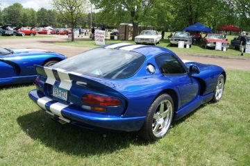 1997 blue Dodge Viper white stripes
