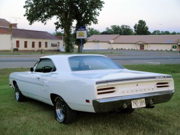 White 1970 Plymouth Road Runner rear