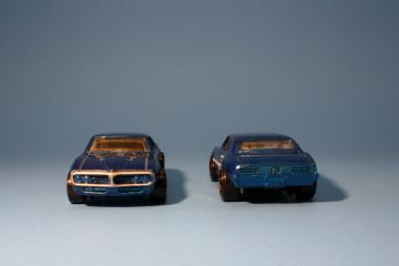 Hot Wheels Blue 67 Firebird - front and rear